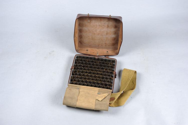 W. PRAIN A GANNOCHY 12-BORE RAPID LOADER the leather covered aluminium fram
