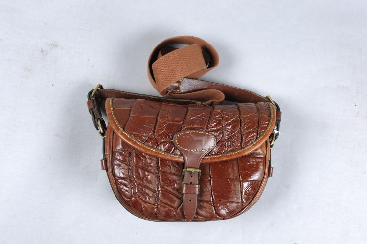 A MOCK CROCODILE LEATHER CARTRIDGE BAG of large size, for about 120 cases,