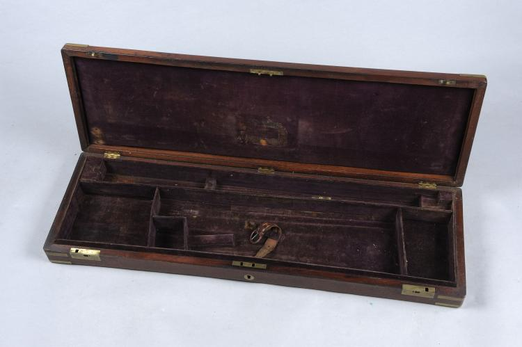 A BRASSBOUND MAHOGANY GUN CASE suitable for a hammer gun, with compartment