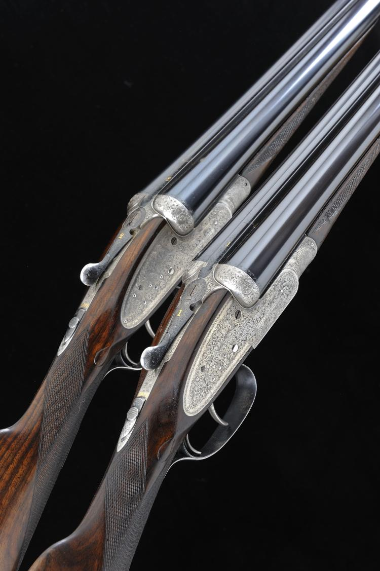 WILLIAM EVANS A PAIR OF 12-BORE SIDELOCK EJECTOR GUNS, NOS. 13408/9 28 1/4-