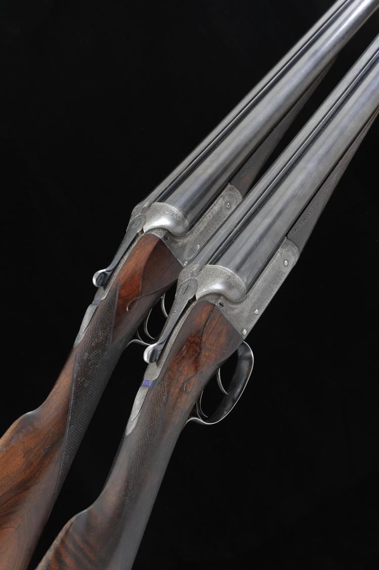 ARMY & NAVY A PAIR OF 12-BORE BOXLOCK EJECTOR GUNS, NOS. 13385/6 No.1 gun w
