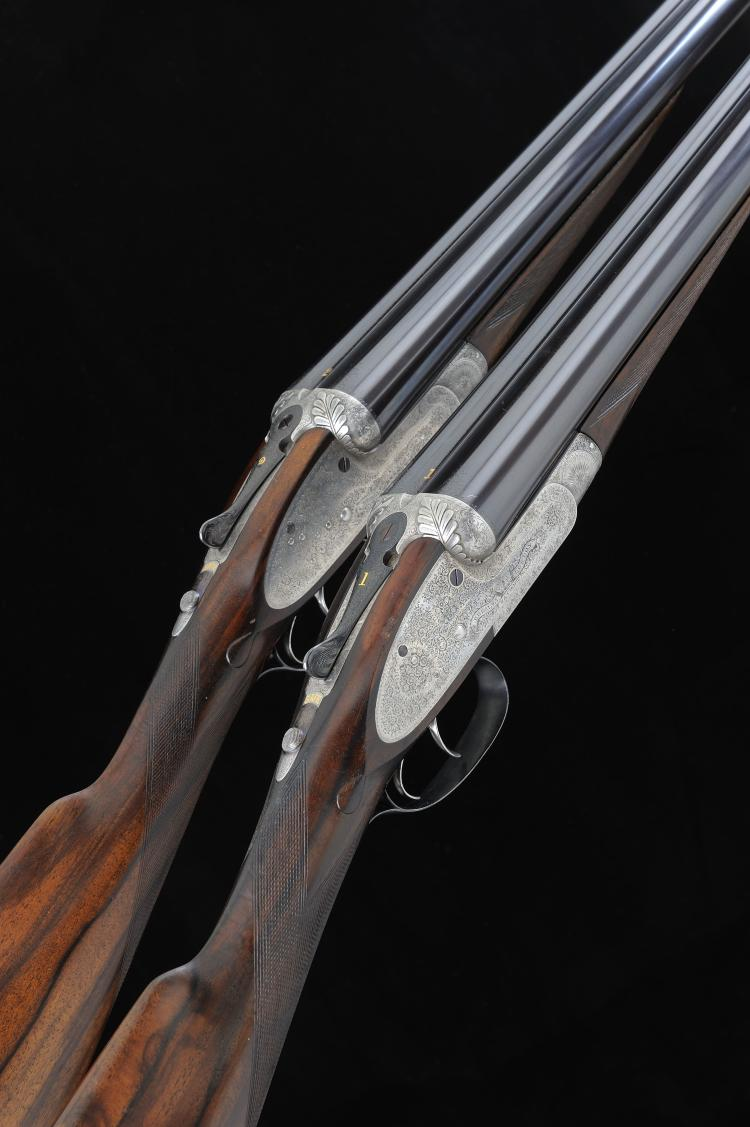 F. BEESLEY A PAIR OF 12-BORE SIDELOCK EJECTOR GUNS, NOS. 1741/2 29 3/4-inch
