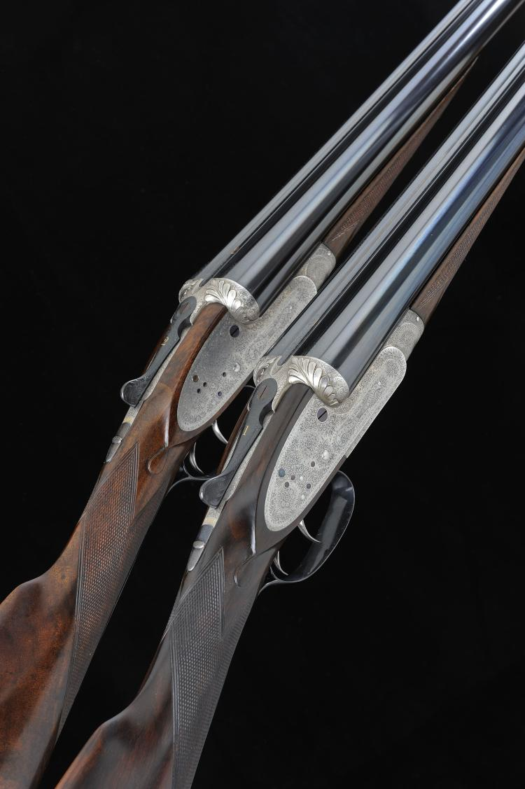 F. BEESLEY A PAIR OF 12-BORE SIDELOCK EJECTOR GUNS, NOS. 1399/1400 29 3/4-i