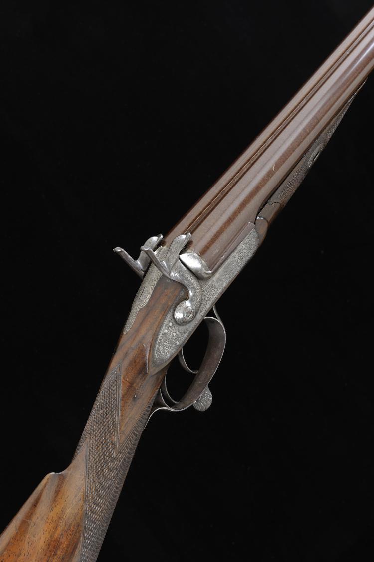 CHARLES OSBORNE A 12-BORE BAR-IN-WOOD PINFIRE GUN 29 3/4-inch damascus barr