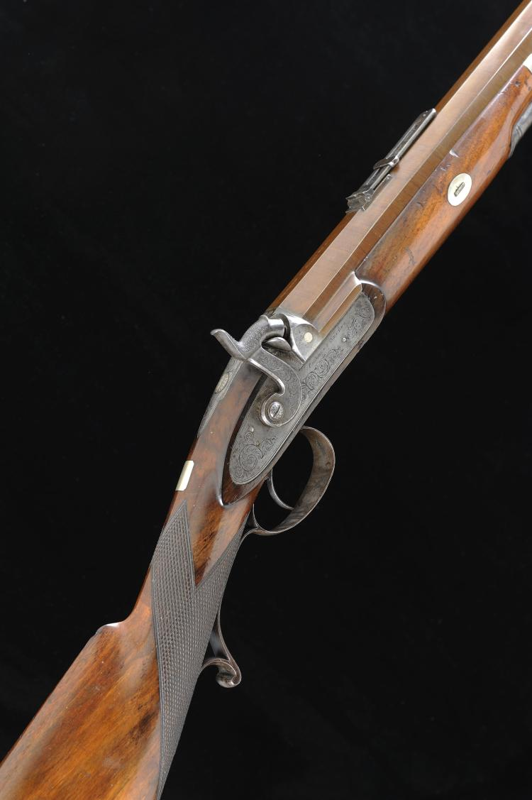CHARLES NEPHEW & CO. AN 8-BORE PERCUSSION SPORTING RIFLE 32 1/2-inch octago
