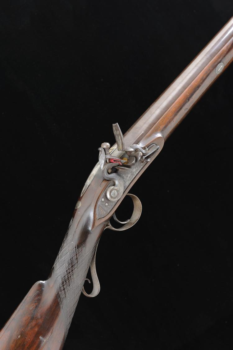 SHARP A 12-BORE FLINTLOCK SPORTING GUN 33 1/2-inch damascus twist barrel si