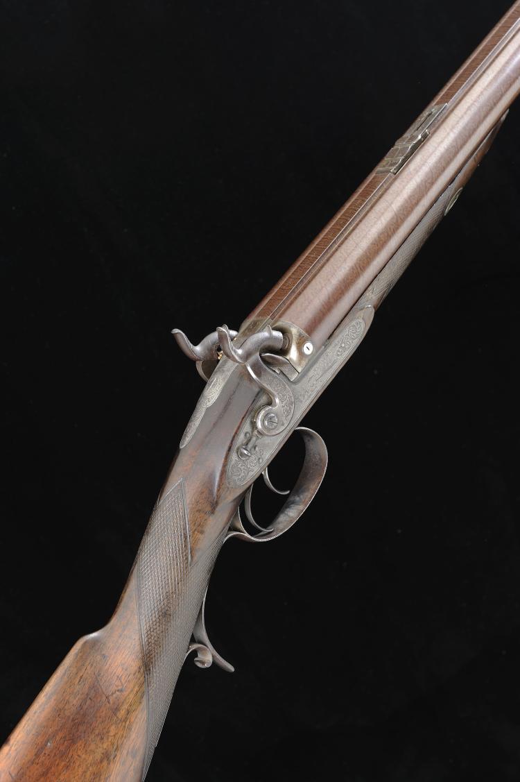 WESTLEY RICHARDS A 10-BORE DOUBLE BARREL PERCUSSION RIFLE, NO. 7628 30-inch