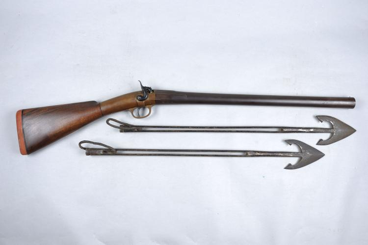 A PERCUSSION 6-BORE HARPOON GUN 24-inch damascus barrel, the heavy brass br