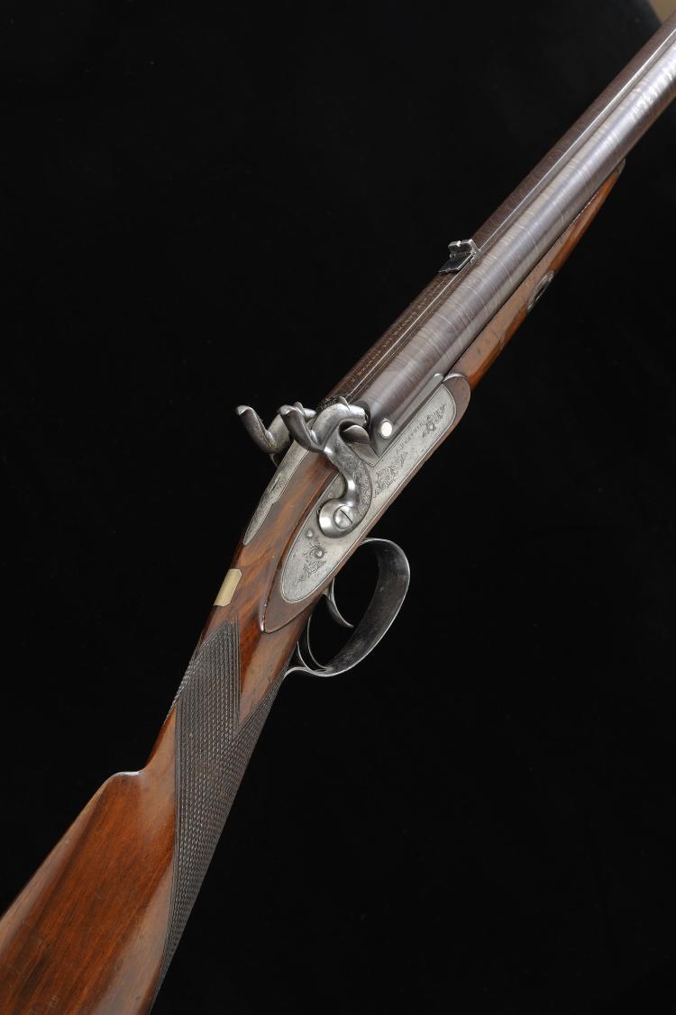 J. BEATTIE A PERCUSSION 20-BORE DOUBLE BARREL RIFLE, NO. 2688 22-inch damas