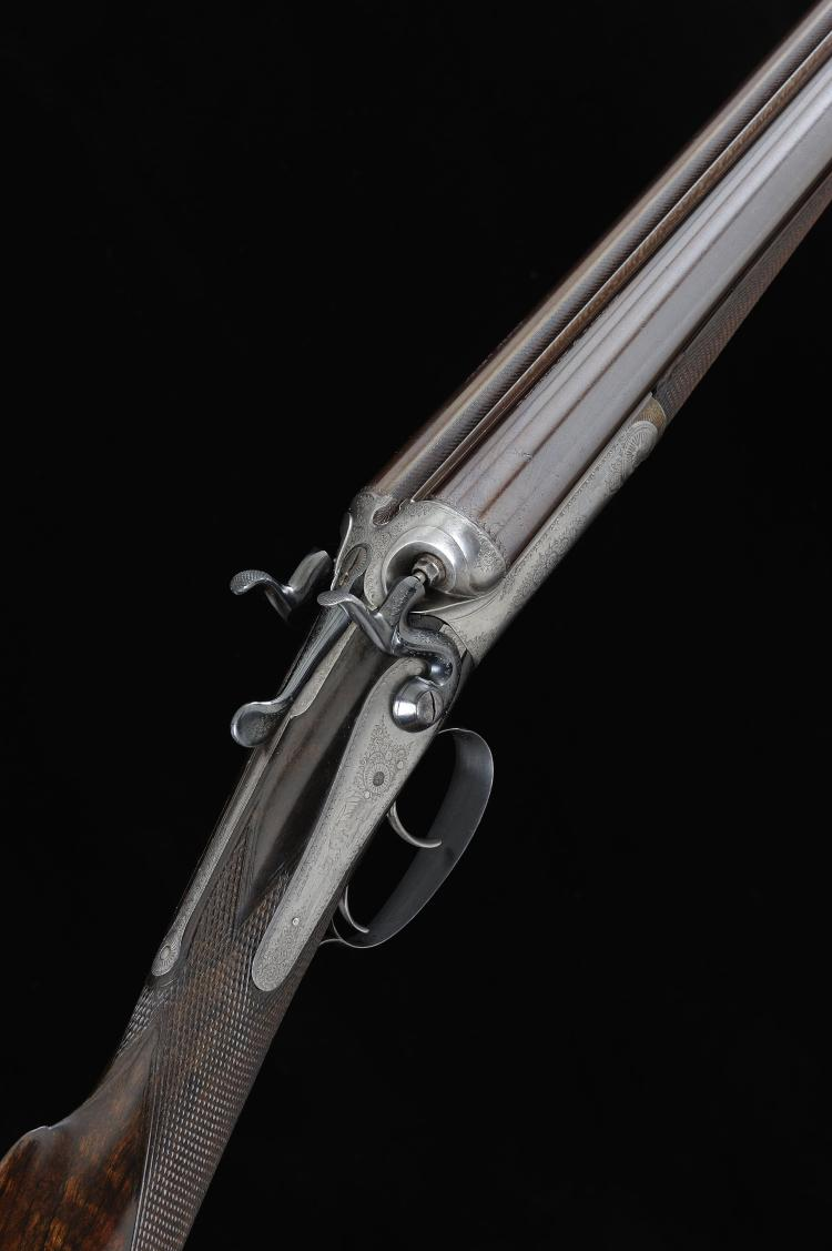 ALEX HENRY A 12-BORE TOP LEVER HAMMER GUN, NO. 27152 30-inch damascus barre