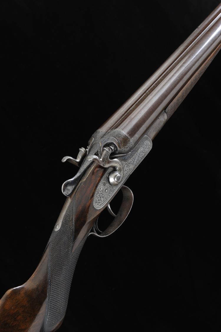 P. KNIGHT A 12-BORE TOP LEVER HAMMER GUN, NO. 3866 30-inch damascus barrels