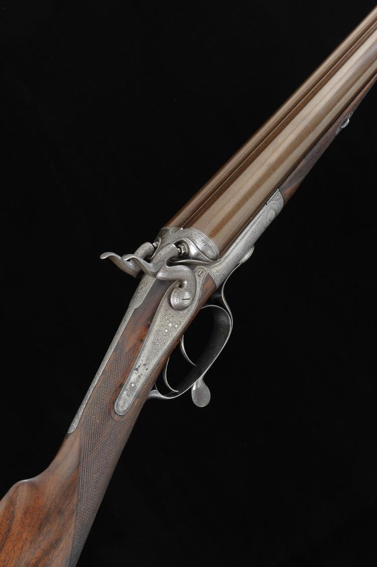 BOSS & CO. A 12-BORE HAMMER GUN, NO. 3253 30-inch damascus barrels with 2 1
