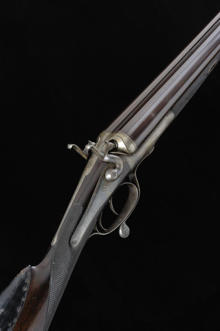 ADAMS & CO. A 10-BORE HAMMER GUN, NO. 11141 31 3/4-inch damascus barrels wi