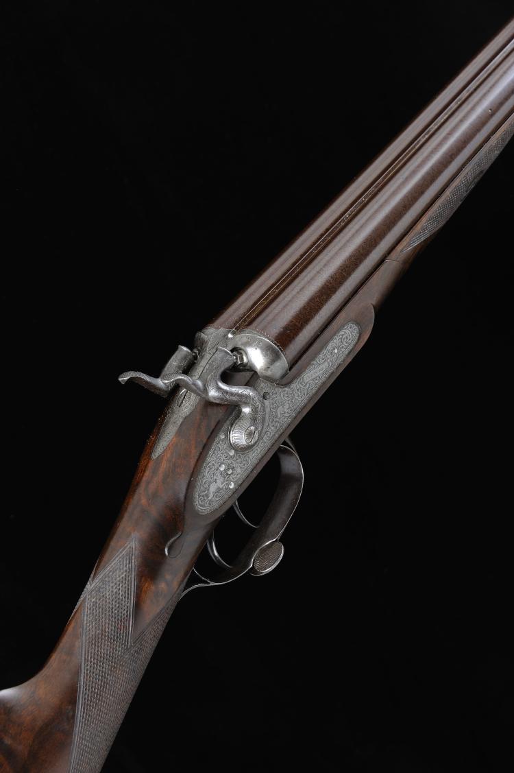 FLETCHER A 12-BORE BAR-IN-WOOD HAMMER GUN, NO. 2155 29 1/2-inch damascus ba