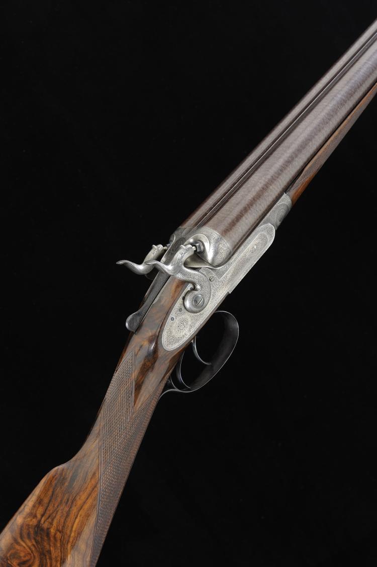 J. PURDEY A 12-BORE TOP LEVER HAMMER GUN, NO. 9134 29 1/2-inch damascus bar