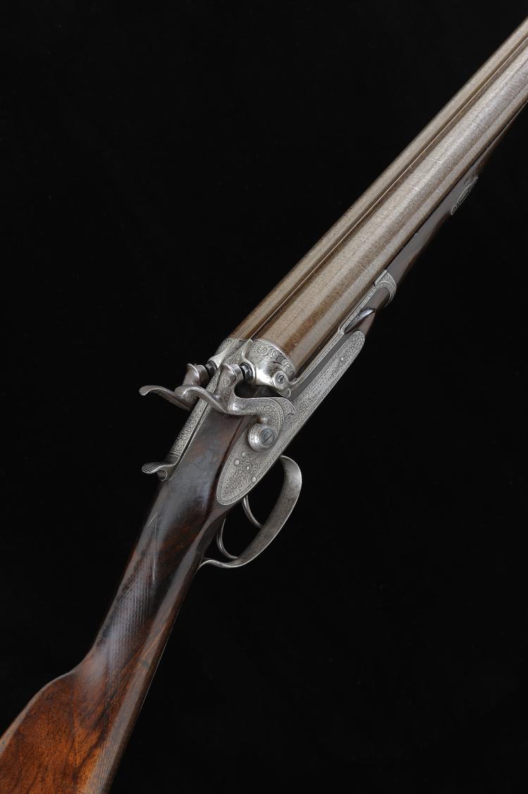 T. HORSLEY A 12-BORE PATENT BAR-IN-WOOD HAMMER GUN, NO. 1988 30-inch damasc