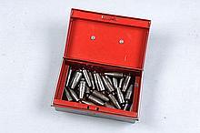 A SET OF GUNMAKERS' SHOTGUN BORE DIAMETER PLUGS in a metal box