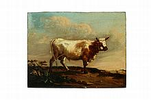 LANDSCAPE WITH COW ATTRIBUTED TO PAULUS POTTER (NETHERLANDS, 1625-1654).