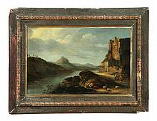 LANDSCAPE WITH CASTLE RUINS ATTRIBUTED TO KLAES NICOLAES MOLENAER (NETHERLANDS, 1626-1676).