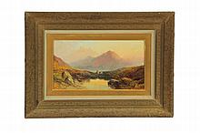 LANDSCAPE AND FIGURES WITH MOUNTAINS BY JOSEPH HORLOR (ENGLAND, 1809-1887).