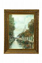 CANAL SCENE BY CHARLES PAUL GRUPPE (AMERICA, 1860-1940).