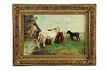 LANDSCAPE WITH HORSES BY HENRY SCHOUTEN (BELGIUM, 1864-1927).