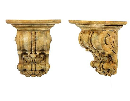 PAIR OF ARCHITECTURAL BRACKETS BY JO MEAD (ILLINOIS, 1919-2000).