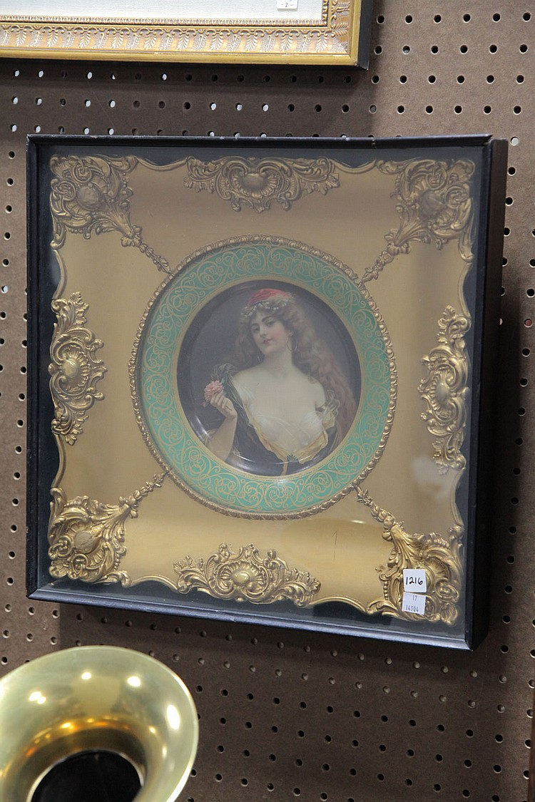 TIN PORTRAIT PLATE IN FRAME.