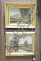 TWO FRAMED LANDSCAPE PAINTINGS. Oil on artist's board depicting an early autumnal scene of Blue Hilll, Milton, Massachusetts. Signed.., D.A. Fisher, Click for value