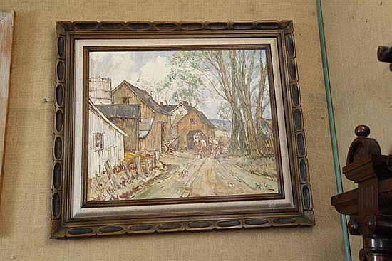OIL ON BOARD BE LESLIE COPE. Depicting a farm with a dog in the foreground followed by a man and two horses. Signed