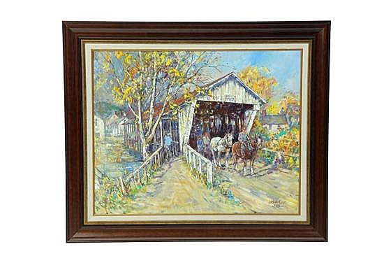 OIL ON BOARD BY LESLIE COPE. Autumn scene with people exiting and entering a covered bridge. Signed