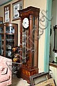 TALL CASE CLOCK. Sligh cable wound clock with triple chime feature. Includes weights, crank and pendulum. 80 1/2
