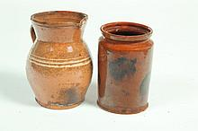 TWO PIECES OF REDWARE.