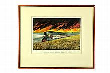 PRAIRIE FIRES OF THE GREAT WEST PRINT BY CURRIER & IVES.
