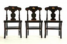 SET OF SIX CANE SEAT CHAIRS.