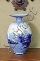 LARGE DOULTON BURSLEM VASE. Circa 1891-1902. Blue and white shouldered vase depicting
