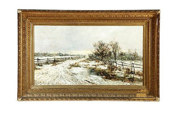 WINTER LANDSCAPE BY EDWARD STRATTON HOLLOWAY (PENNSYLVANIA, 1859-1939)