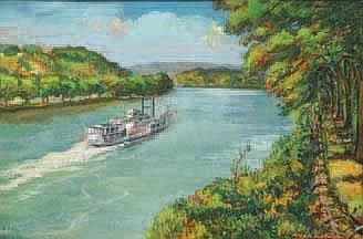 OHIO RIVER LANDSCAPE BY DUBANIEWICZ. Pastel on