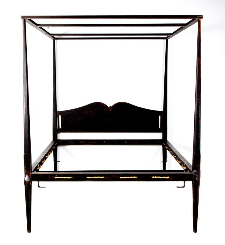 Antique Pencil Post Rice Bed Gray White And Copper Bedroom: QUEEN-SIZE REPRODUCTION PENCIL POST BED