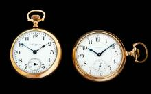 TWO 21-JEWEL 18 SIZE OPEN FACE POCKET WATCHES.