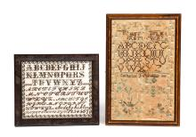 TWO FRAMED SAMPLERS AND A HAND WRITING SAMPLE.
