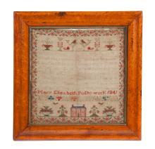 SAMPLER WORK BY MARY ELIZABETH PUGH DATED 1841.