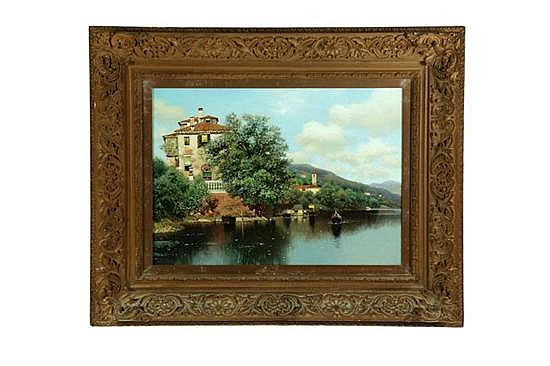 LAKESIDE ITALIAN VILLA BY HENRY PEMBER SMITH, (CONNECTICUT/NEW YORK, 1854-1907).
