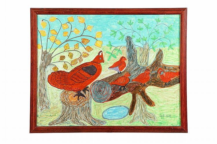 QUAIL FAMILY BY LUCILE SMITH (AMERICAN, 20TH CENTURY).