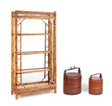 TWO CHINESE WEDDING BASKETS AND A BAMBOO SHELF