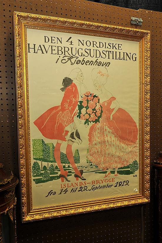 POSTER BY VALDEMAR ANDERSEN (DANISH, 1875-1928). Dated 1912. Lithograph poster for the Nordic Horticultural Exhibition in Copenhagen...