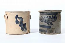 TWO PIECES OF STONEWARE.