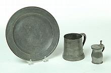 THREE PIECES OF PEWTER.