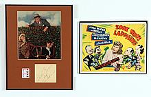 LOOK WHO'S LAUGHING LOBBY CARD AND EDGAR BERGEN AUTOGRAPH.