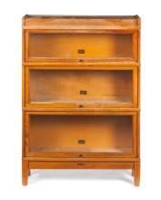 FIVE-PIECE THREE-SECTION STACKING BOOKCASE BY HALE.